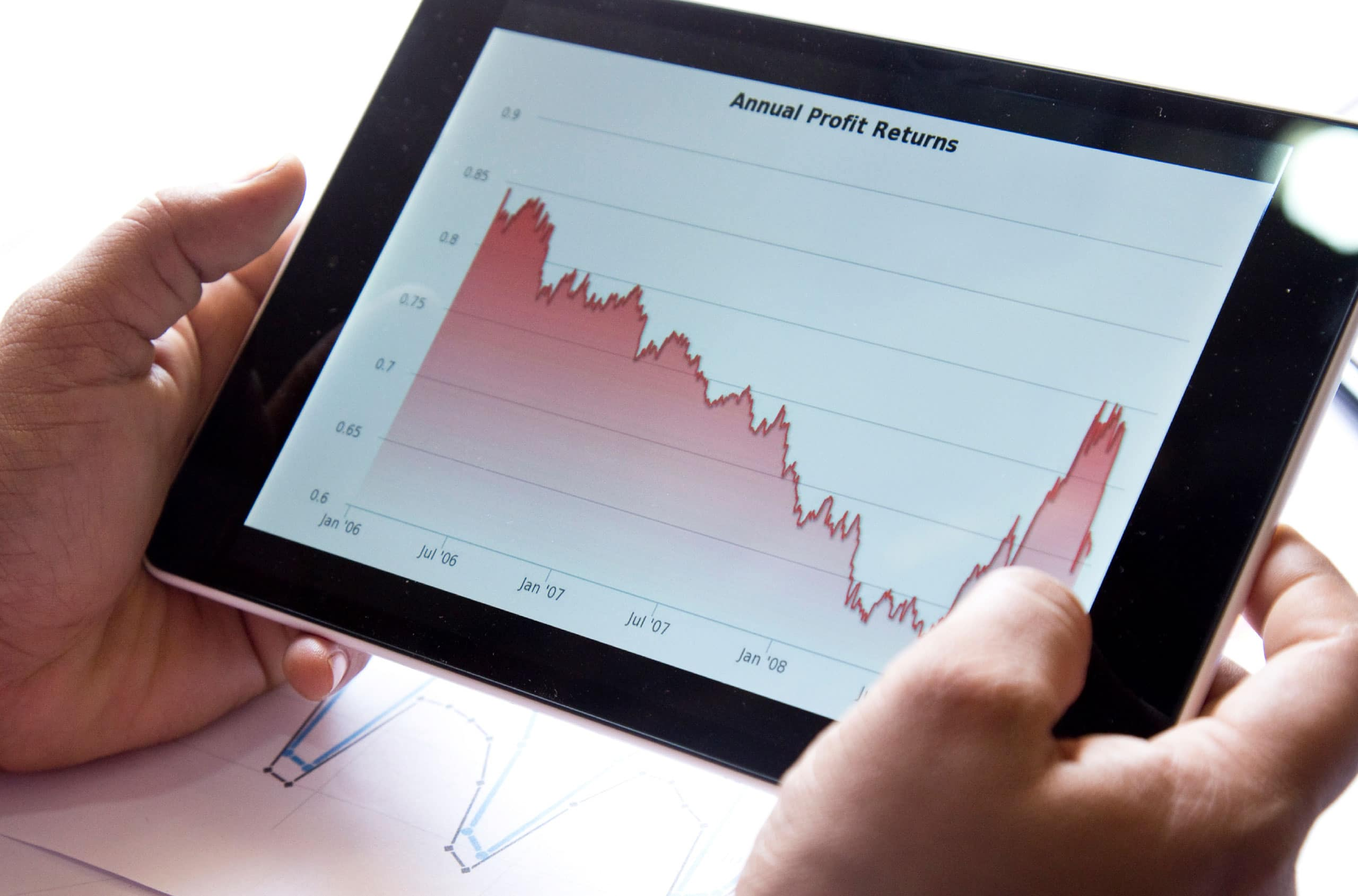 Stock market drop shown on tablet