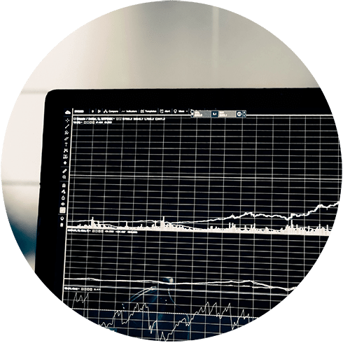 screen with trading graphs